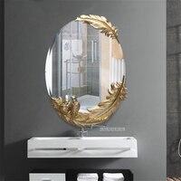 Европейский Стиль Ванная комната зеркала настенные украшения зеркало для макияжа перо Овальный Анти туман зеркала высокое качество Номер