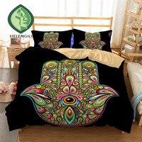 HELENGILI 3D Bedding Set Hamsa Hand Print Duvet cover lifelike bedclothes with pillowcase home Textiles #2 02