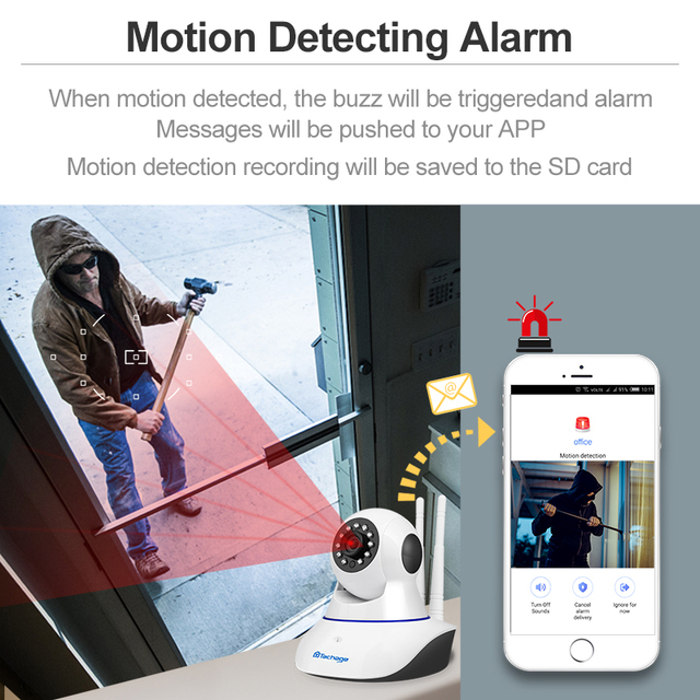 Techage 1080P 720P Wireless IP Camera Night Vision Baby Monitor Home Security 2MP 2-Way Audio Record CCTV Wifi Camera Yoosee APP 4