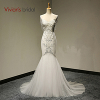 Vivian's Bridal Luxury Sexy Mermaid Wedding Dresses Deep V Backless Beading Pearls Wedding Gown 2015 Free Shipping # WB032
