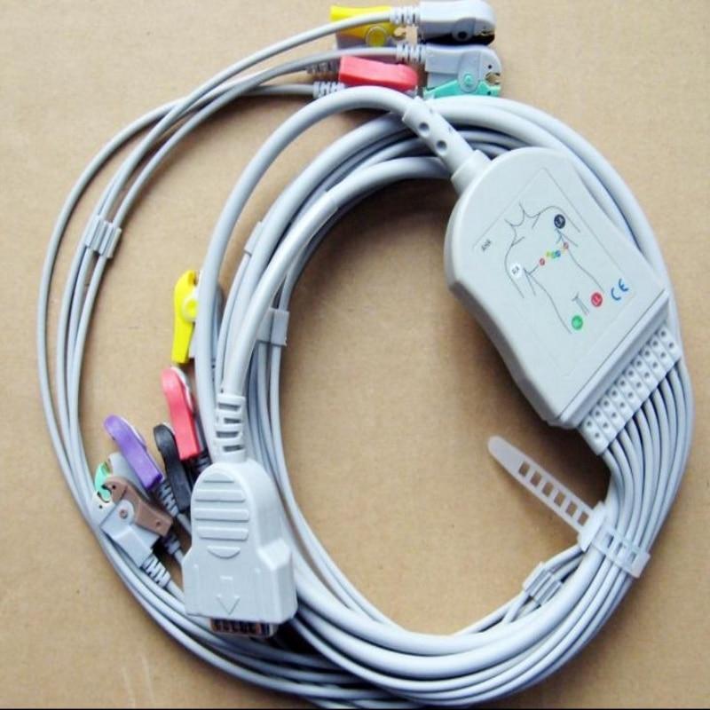 Free Shipping Compatible for GE Marquette MAC400, MAC500, MAC1000, MAC1100/1200,GE EKG ECG Cable 10 Leadwires AHA Clip End free shipping 10pcs s24cs02aft tb ge s24cs02a msop 8