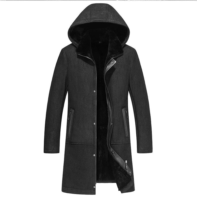 New Designer  Mens Real wool Fur Jacket Winter long Coat Jackets Male Warm Slim Office Cashmere Coat(China)