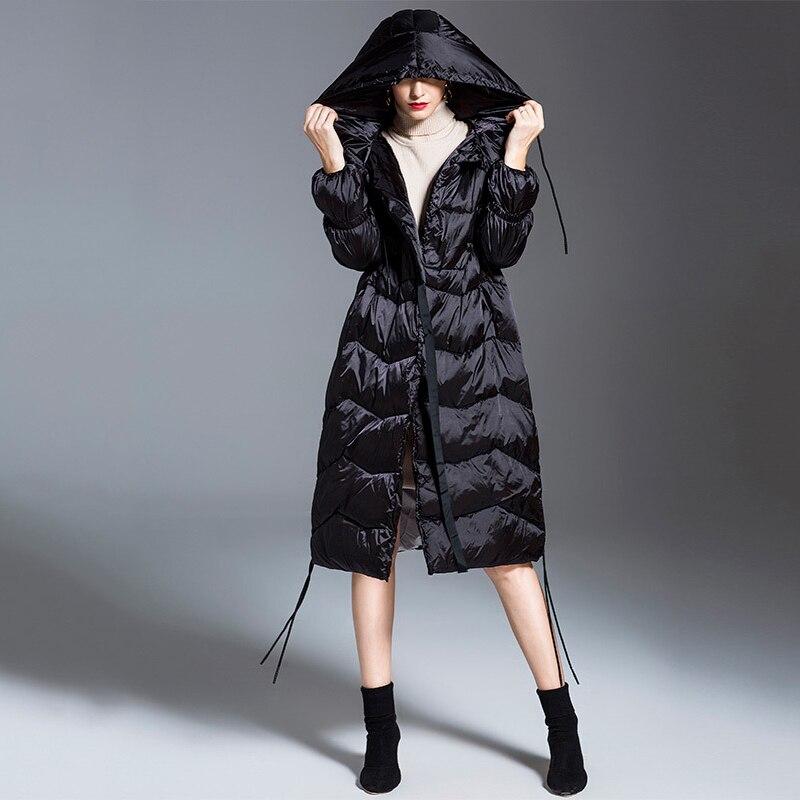 Réduire Chaud Femmes Mode Qualité Long Cordon Couleur Haute Down Taille Élastique 2 Black 2019 De Capuchon Hiver orange Nouveau Lc094 La eam Veste À 8F6RwqFn