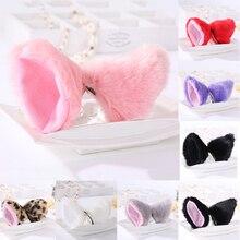 1 pair Hot Sale Solid Color Cute Imitation Animal Cat Fox Long Fur Ears Shape Hair Clip Party Headwear Wholesale