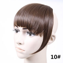 jeedou Synthetic Short Front Neat Blunt bangs Clip On Bang Fringe Straight Hair Extensions Girl Women's hairpiece