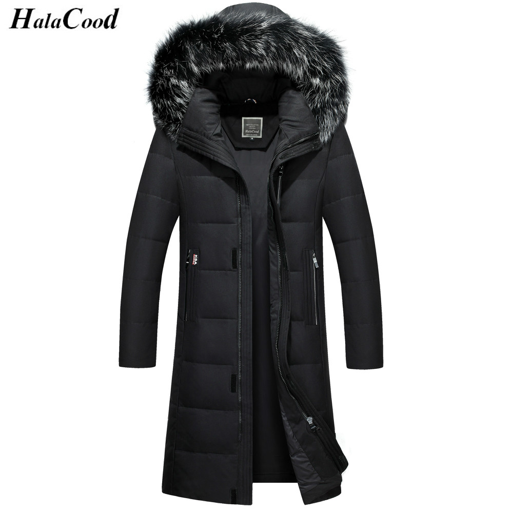 Hot Long   Coat   Big Genuine Fur Hood Duck   Down   Jackets Men Warm High Quality   Down     Coats   Mens Casual Winter Outerwear   Down   Parkas