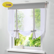 Flying Window Tulle Yarn Kitchen Bay Screen Curtains for Living Room Divider Home Transparent Sheer Curtain Drapes Window Voile cheap Built-in Europe Ladder Belt Office Hotel Cafe Home Perspective Flat Window YF23 Balloon Curtain Left and Right Biparting Open