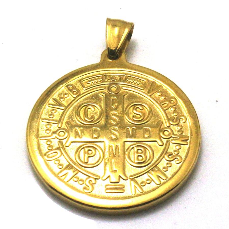 35mm 316l Stainless Steel Saint Benedict Of Nursia Cspb Cssml Ndsmd Christianity Catholic Church Jesus Exorcism Golden Pendant