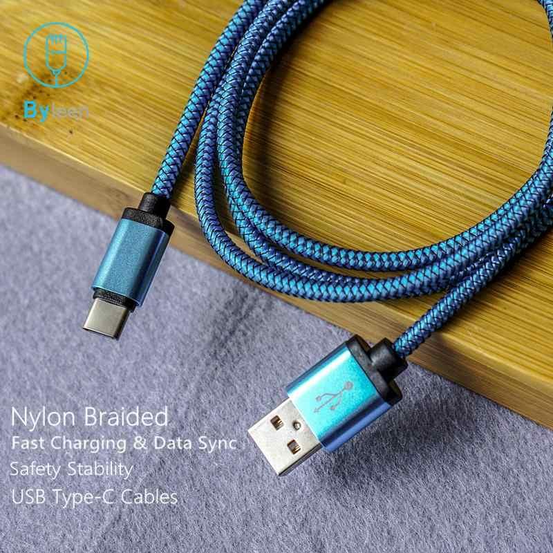Byleen Nylon Braided 0.25 M/1 M/2 M Ngắn USB Loại C Dòng cho Xiaomi Mi8 Nhanh dây Cáp sạc dành cho Huawei Honor 10 V10 V9 chơi 9 8
