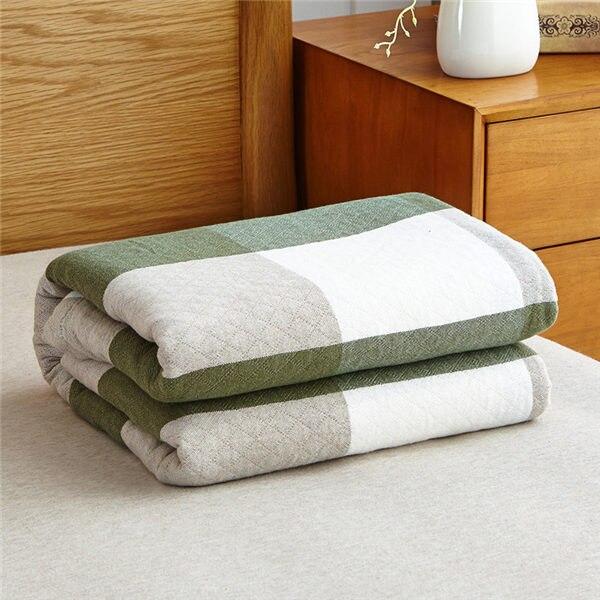 Мягкое Стёганое одеяло в японском стиле, хлопковое покрывало, одеяло для одиночной/двойной кровати, натуральное хлопковое летнее одеяло - Цвет: Green