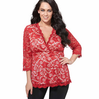 Young17 Fashiom Autumn Red Blouse Lace V Neck Sexy Fashion High Street Work Plain Clothing Fall