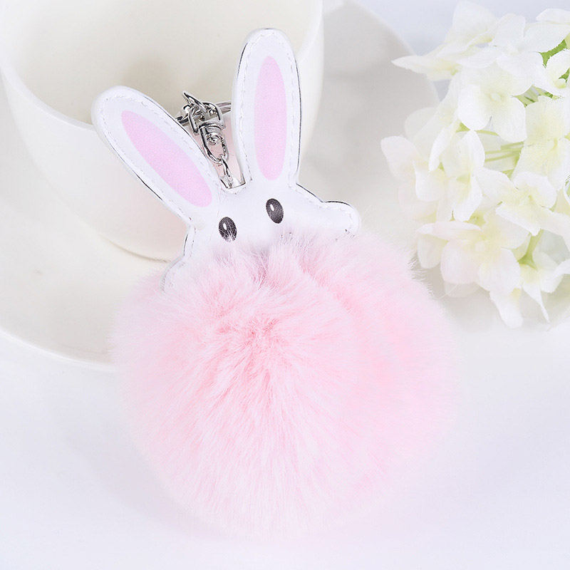 Hot Sale Pom Pom Rabbit Shape Fluffy Faux Rabbit Fur Keychains Bag Pendant for Women Car ...