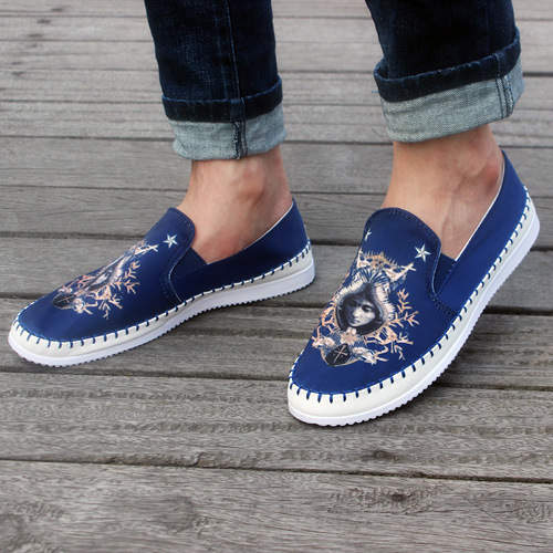 4d96a64fc1c Spring Mens Shoes Casual Loafers 3D Printed Fashion Owl Vintage Canvas Slip  On Soft Flats KJ199