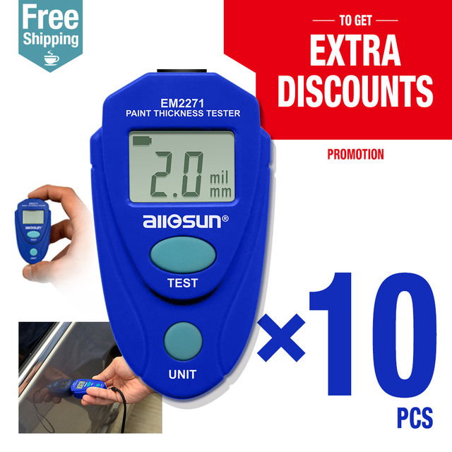 10pcs/lot Digital Thickness Gauge Car Painting Thickness Tester Paint Thickness Meter EM2271 ship from Russia