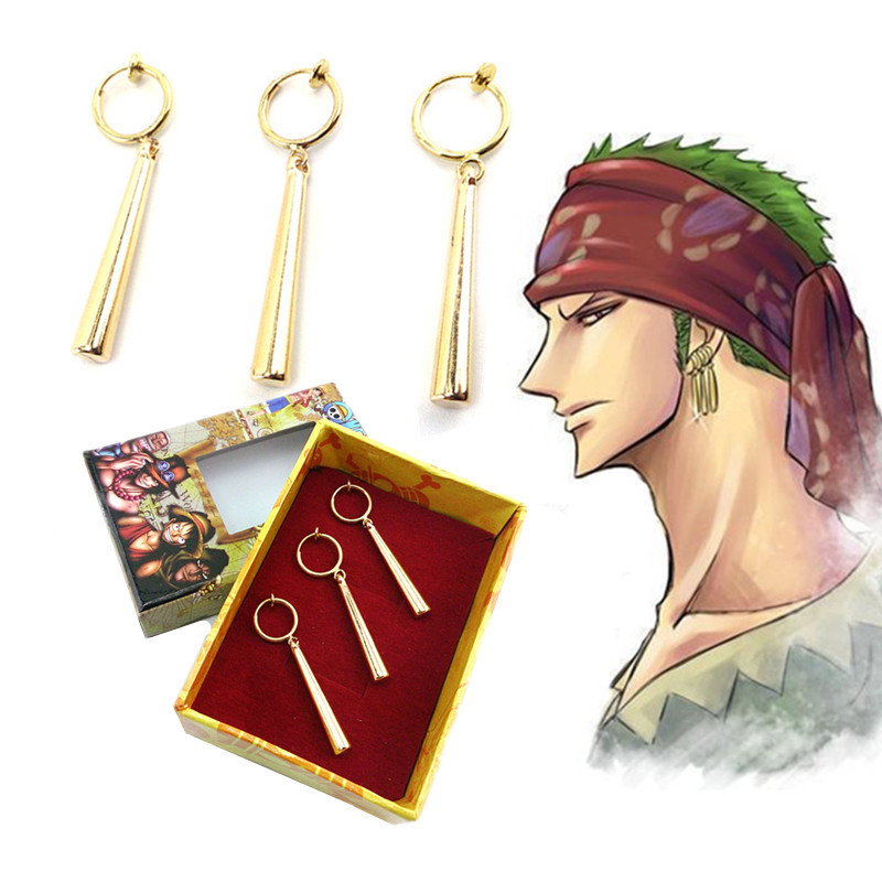 3PCS/1SET One Piece Pirate Hunter Roronoa Zoro Cosplay Costume Accessories Ear Drop Dangle Earrings Jewelry Metal Pendant