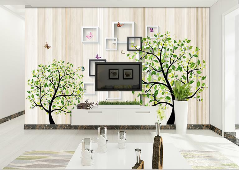 US $14.05 57% OFF|Neue 2018 Moderne einfache 3D Wand aufkleber tapete  wandmalereien baum wohnzimmer TV Sofa Dekorative Hintergrund Wandbild Kunst  ...