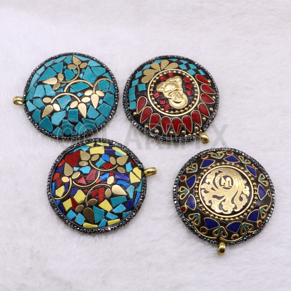 10 pcs tribe pendant Tiebtan style pendants boho round shape for jewelry making jewelry wholesale jewelry