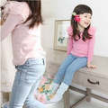 new Korean Kids girls jeans trousers fashion girl Elasticity casual blue Denim pants for Children's Clothing
