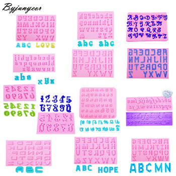 Byjunyeor C282 Number Letter Capital Silicone Mold Fondant Cake Decorating Cake 3D Mould Tools artificial nails