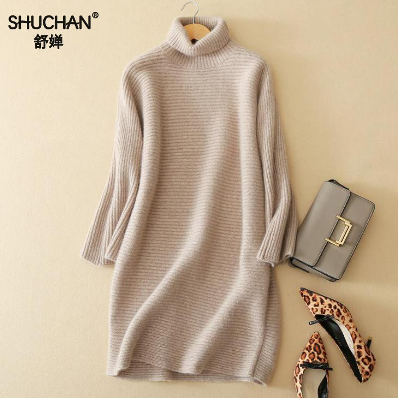SHUCHAN 2017 Winter Cashmere Dress Woman New Arrival Cashmere Knitted Dresses Autumn And Winter Fashion Elegant Basic B351 fashion woman s striped beanies hat 2016 new autumn winter knitted warm wool casual girl cap for woman skullies chapeu feminino