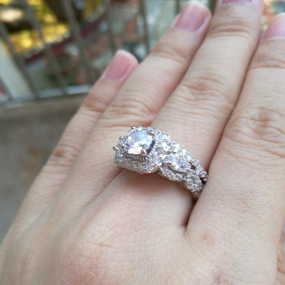 Newshe 2 st Halo 925 Sterling Silver Bröllop Ringar För Kvinnor 1.5 - Märkessmycken - Foto 6