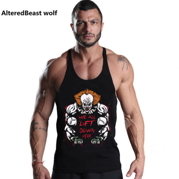 New Fitness Men   Tank     Top   Joker Print bodybuilding stringer Sleeveless Cotton vest men Bodybuilding Undershirt workout clothing