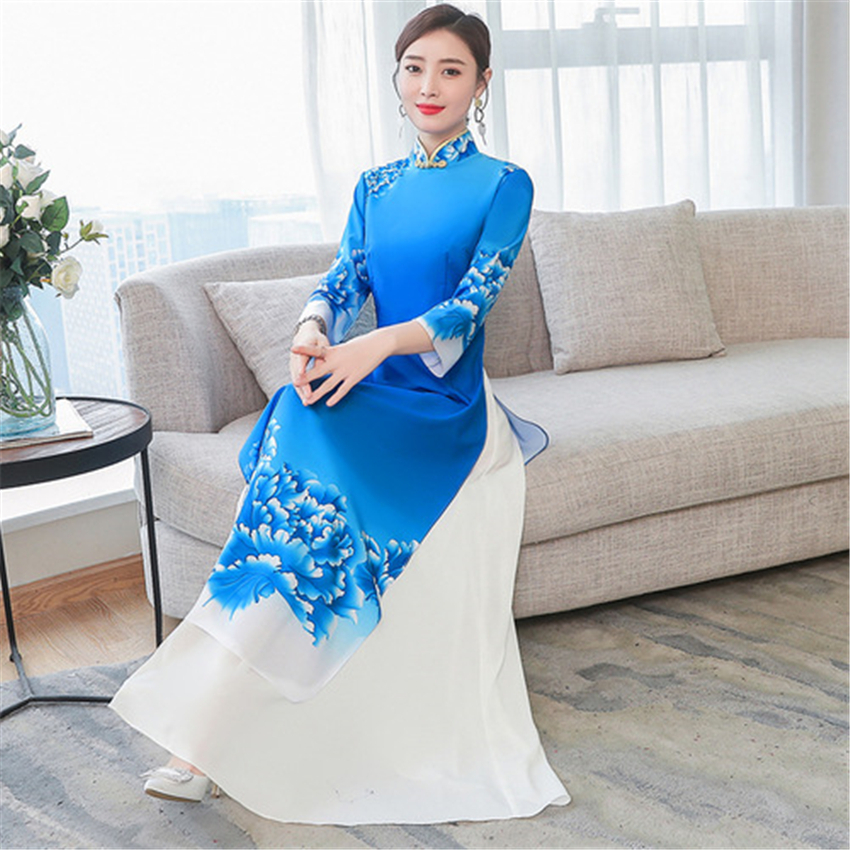 Traditional Vietnamese Clothing Aodai Vietmam Clothes Blue Floral Asian Chinese Style Cheongsam For Women Ao Dai Qipao Dress