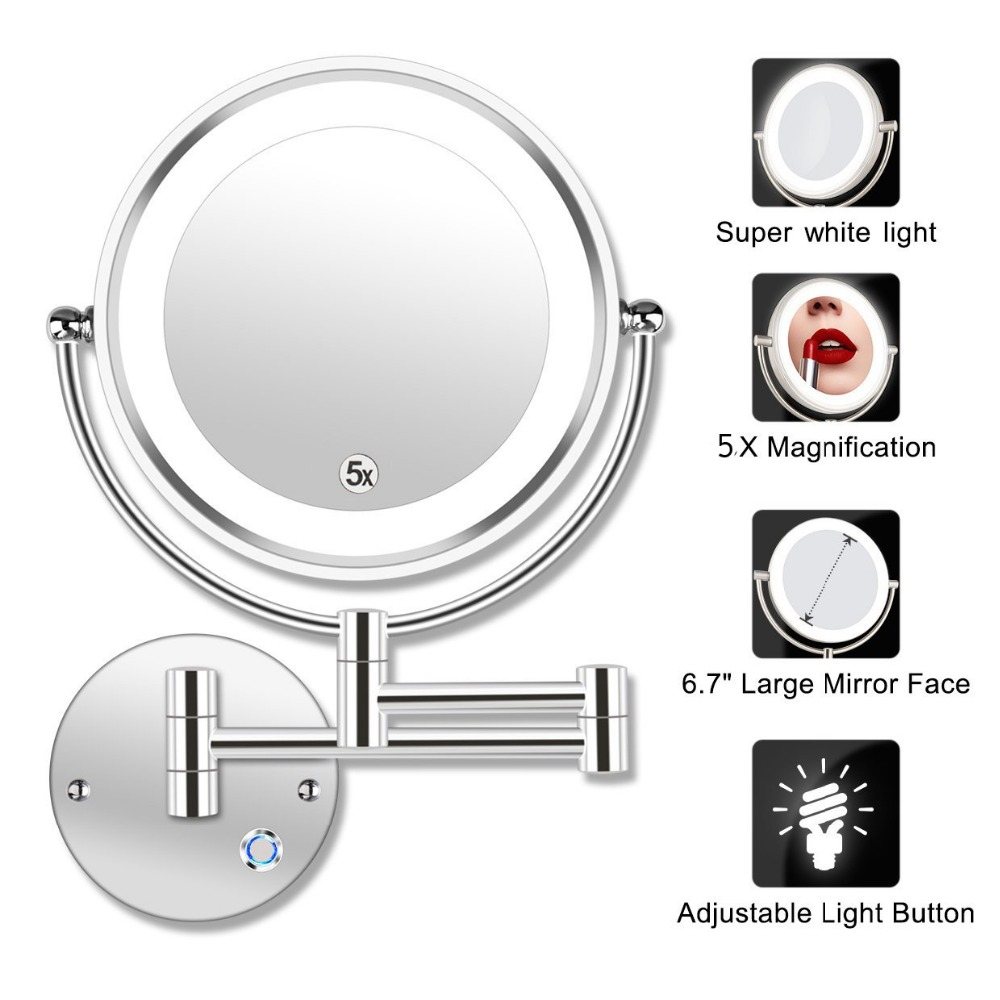 8 5 LED Double Sided Swivel Wall Mount Vanity mirror 5x Magnification 13 7 Extension Touch