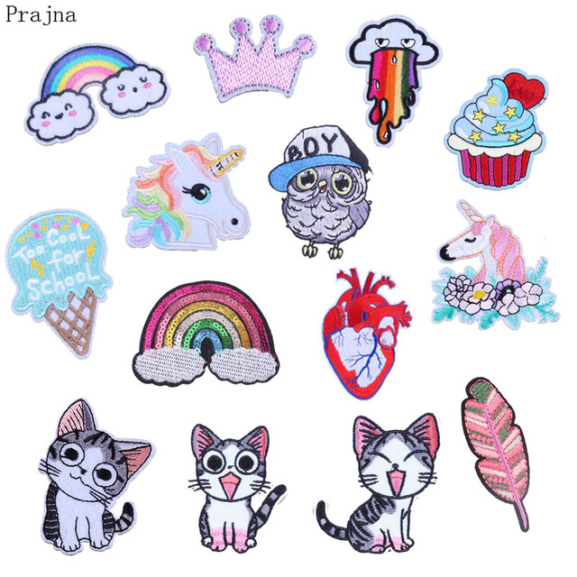 Prajna Heart Letter Pride Patch Iron On Kid Embroidered Cute Cartoon Patches For Clothes Sticker Jacket DIY Gay Badges Applique