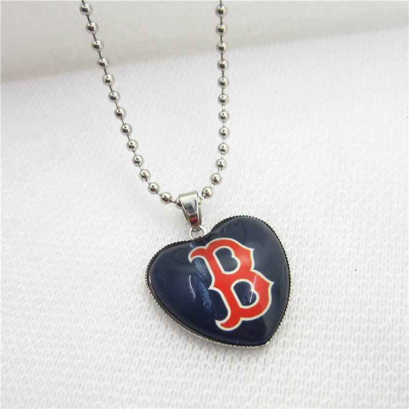 10pcs/lot USA Necklace Boston red sox Necklaces Pendant Charms with 45cm Beads Chains Baseball Sports Necklace Jewelry