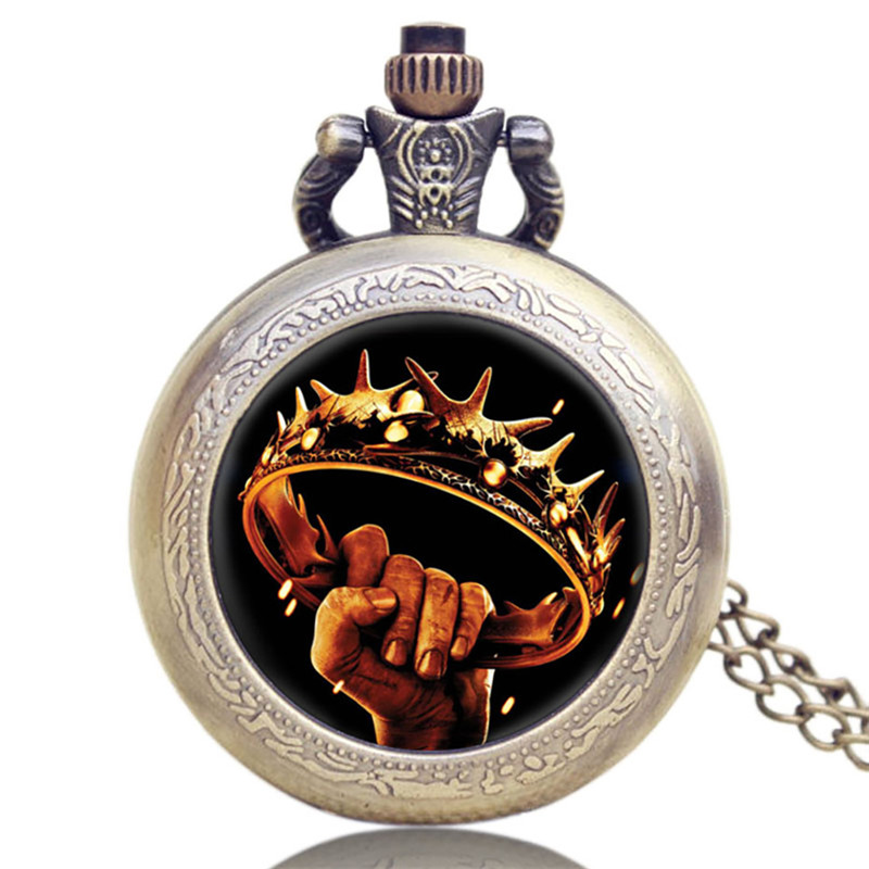 Game Of Thrones Theme Bronze Fob Pocket Watch Men's Quartz Pocket Watch With Chain With Necklace For Men Women Fans Gifts