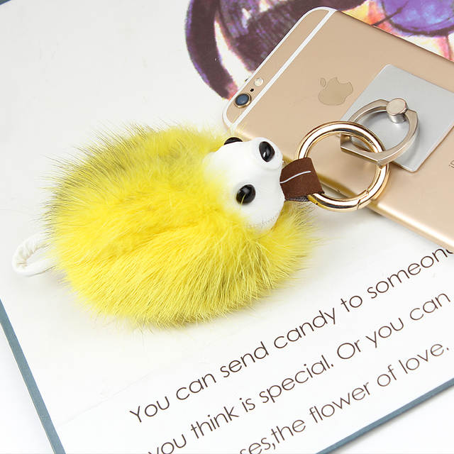 16Color Best Mink Fur Puff Ball KeyChains Cute KeyChains Pom Women Keyring  Rings Gold-color 577730328
