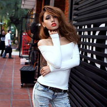 Fashion New Arrival Women's Shirts Strapless collar long-sleeved tops Slim Tops