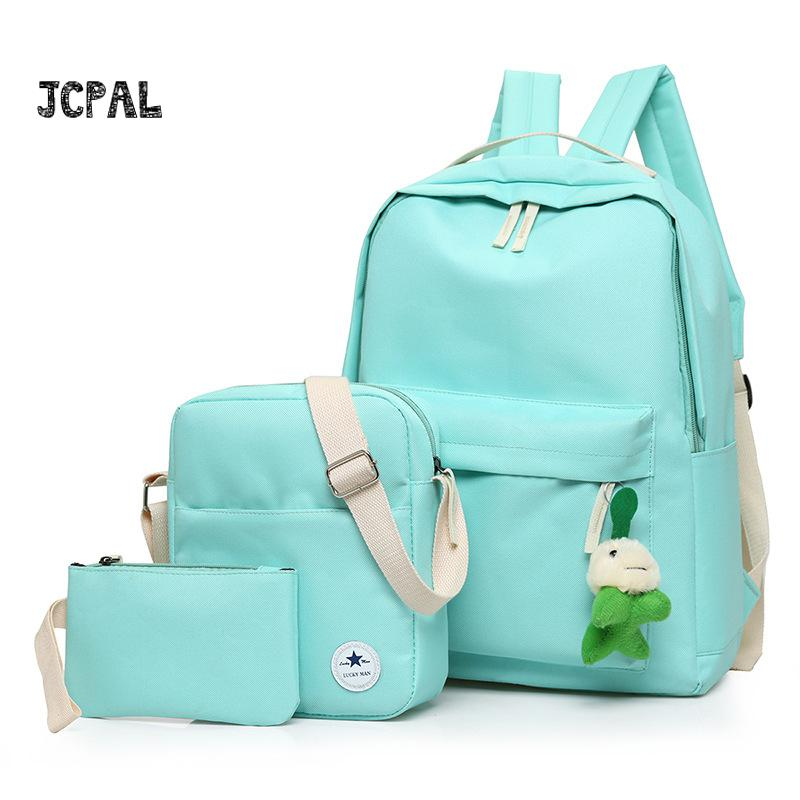 3pcs/set Women Backpack Girls School Bags Rucksack Back Pack Canvas Cute Stars Printing Backpack Shoulder Bag Purse