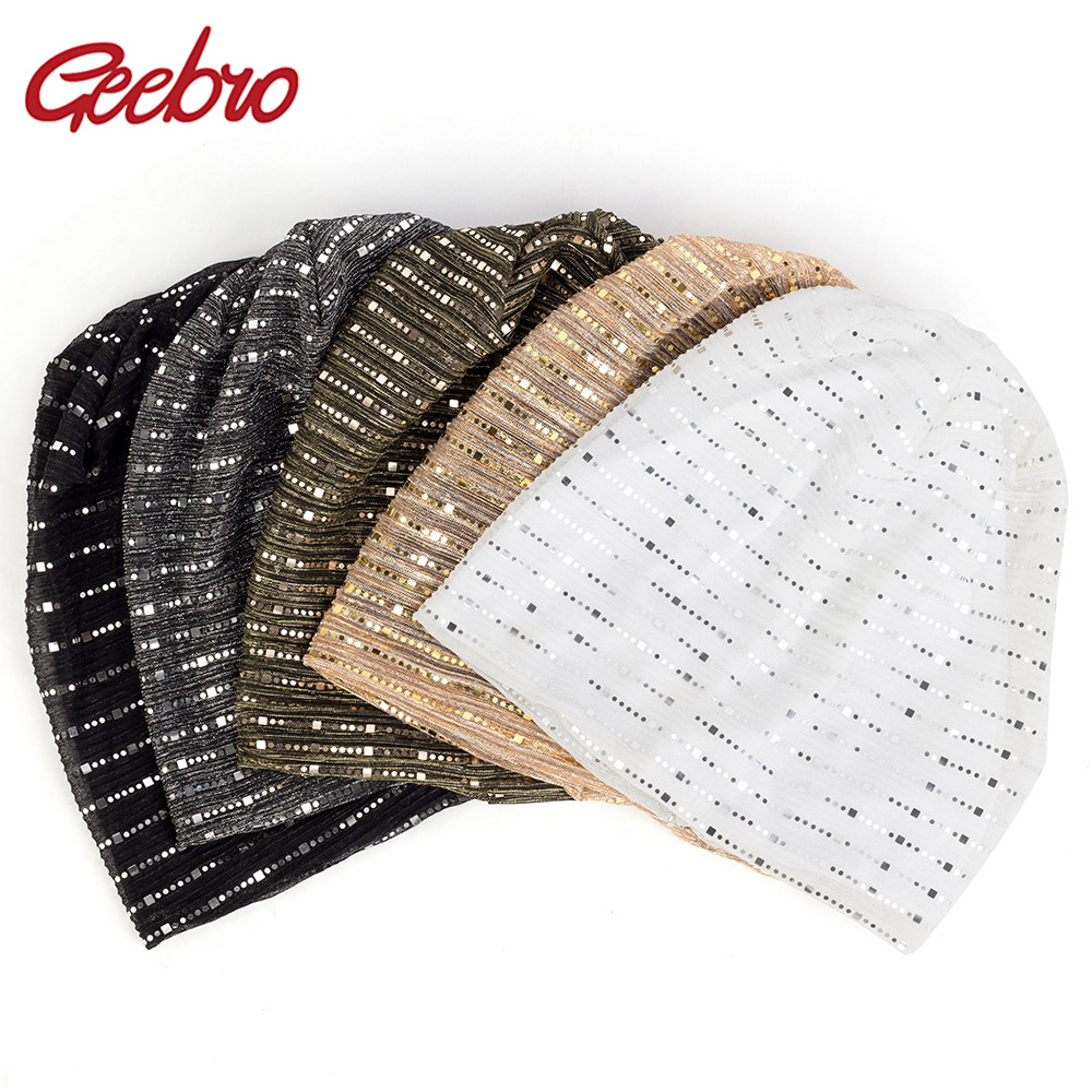 Geebro Fashion Women's Slouchy Spring Winter Metallic Sequin   Skullies     Beanies   Girls Ladies Elegant Unisex Female Caps Hats DQ914