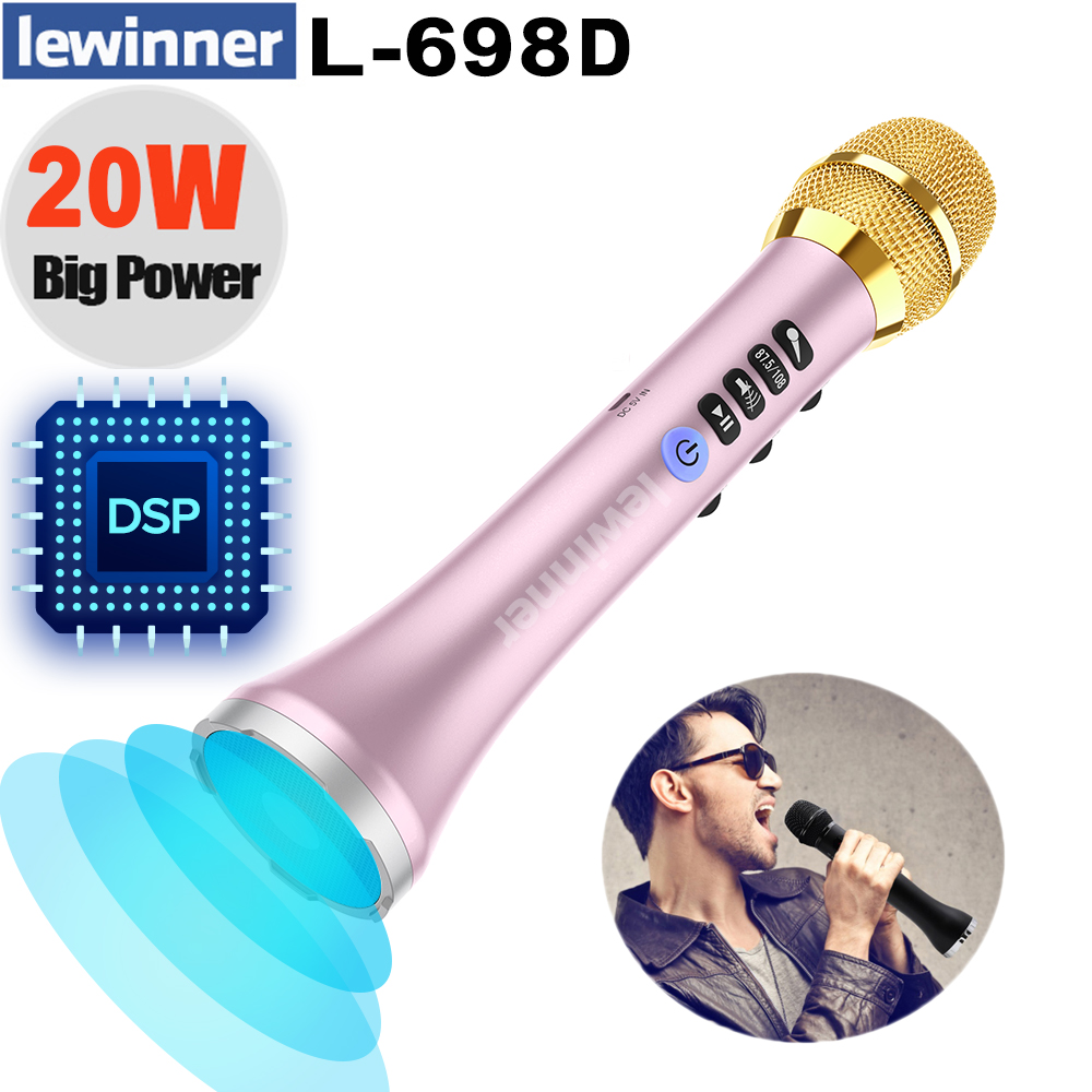 Lewinner L-698D Wireless Karaoke Microphone,20W Professional Bluetooth Microphone Speaker With DSP Sound Effect Chip