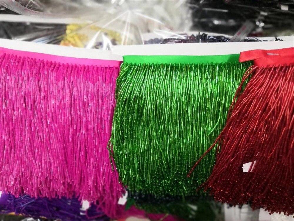 5 yards/sac 15 cm largeur rose vert rouge couleur perles ruban frange gland pour vêtement/décoratif/maison/mariage robe de mariée-in Tissu from Maison & Animalerie    1