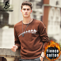 Pioneer Camp Autumn Winter Fleece Printed Winter T Shirt Men Brand Clothing Fashion Male Thick T