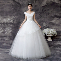 LYG D62 The Bride Wedding Dress Flowers V Korean Fashion Collar And Lace Up 2016 New