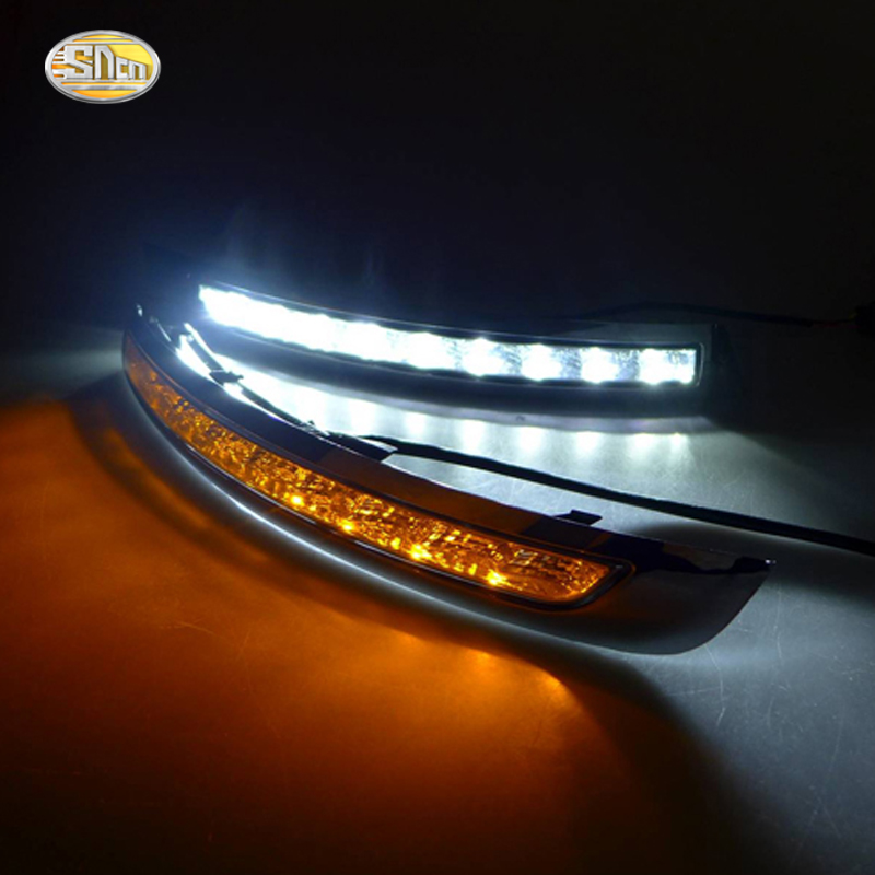 SNCN LED Daytime Running Light for VOLVO XC90 2007 2008 2009 2010 2011 2012 2013 LED DRL bummper lamp with yellow turning lights eemrke for toyota voxy 2007 2008 2009 2010 2011 2012 2013 side rear view mirror lights led drl turn signals