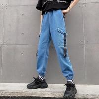 Ribbon Jeans streetwear Cargo Pants Unisex Hip Hop Jeans Pants BF Harajuku Slim Joggers High waist Ankle Length loose Pants