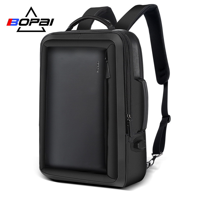 BOPAI Stylish Leather Plecak For Men Fashion Mens Rucksack Backpack Solid Slim Men School Bags USB College School Backpack Black