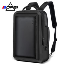 BOPAI Stylish Leather plecak for Men Fashion Mens Rucksack Backpack Solid Slim Men School Bags USB College School Backpack Black(China)