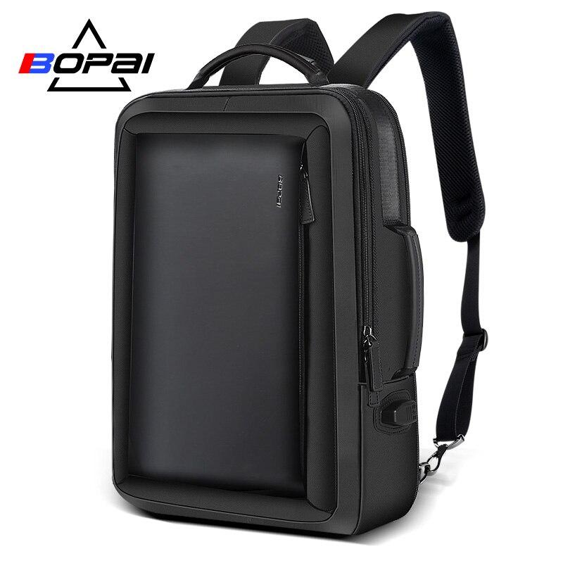 BOPAI Stylish Leather plecak for Men Fashion Mens Rucksack Backpack Solid Slim Men School Bags USB College School Backpack Black