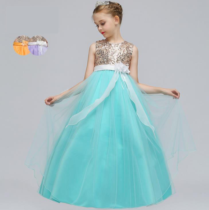 Hot Sale Baby Girl Flower sequins Dress Party Princess Dress Children kids clothes 3 colors 4-15yrs Flower Girl Dress hot sale halter beading sequins short homecoming dress