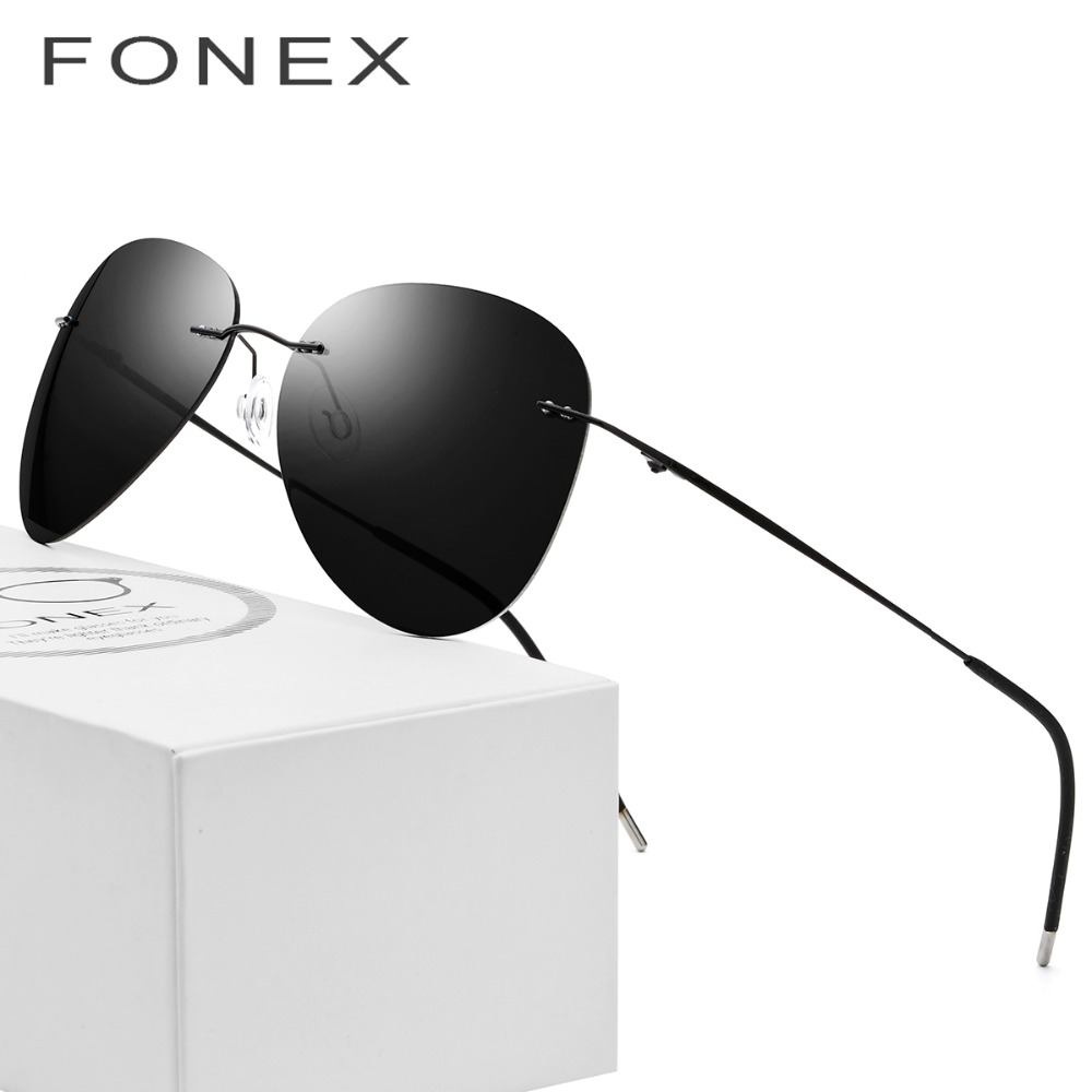 Rimless Sunglasses Titanium Men Brand Designer Ultralight Male 2018 New Light Frameless Aviation Polarized Sun Glasses for Women