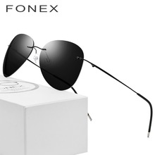 Rimless Sunglasses Titanium Men Brand Designer Ultralight Male 2018 New Light Frameless Aviation Polarized Sun Glasses for Women