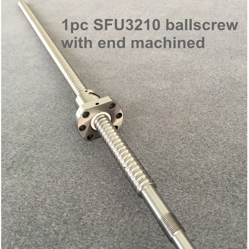 BallScrew <font><b>SFU3210</b></font> 300 350 400 450 500 600 mm ball screw C7 with 3210 flange single ball nut BK/BF25 end machined for cnc Parts image