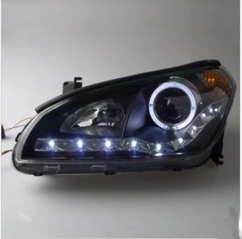 for Faw Besturn B50 Headlights Assembly 2009-2012 model low beam dual lens with Angel Eye with LED Line light LD подкрылок novline autofamily faw besturn b50 2012