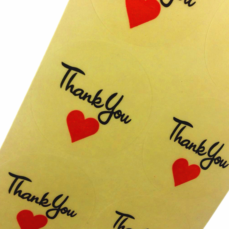 100 Pcs lot Transparent Thank You Red Heart Round Seal Sticker Adhesive Kraft Seal Sticker For Baking Gift in Stickers from Home Garden